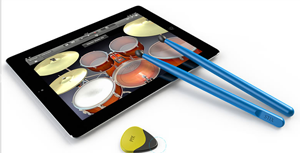 virtual instruments guitar pics and drum sticks for  iPad
