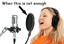 girl with pop filter
