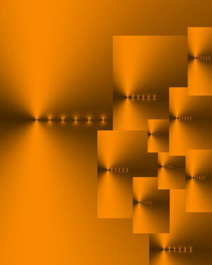 Abstract of ten overlaid burnished gold and dark grey rectangles of various sizes, with six points of light in a horizontal line on each.